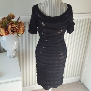 Tadashi Shoji Black Gold Sequin Silk Party Dress 6
